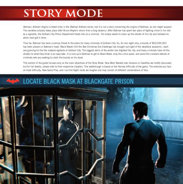 Extrait guide officiel Batman Arkham Origins