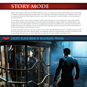 Extrait (version anglaise) guide officiel Batman Arkham Origins